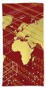 Golden Worlmap Over Tech And Redish Background. Beach Towel by Alberto RuiZ