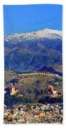 Granada, The Alhambra And Sierra Nevada From The Air Beach Towel
