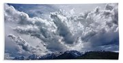 Grand Teton Mountains And Clouds Beach Towel