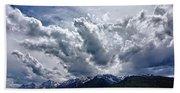 Grand Teton Mountains And Clouds Beach Sheet
