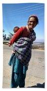 Grandchild And Grandmother Shimla Himachal Pradesh Beach Towel