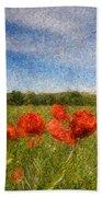 Grassland And Red Poppy Flowers 3 Beach Sheet