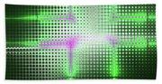 Green Aluminum Sparkling Surface. Metallic Geometric Abstract Fashion Background. Beach Towel