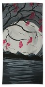 Grey Moon With Red Flowers Beach Towel