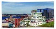 Halifax Town Clock And Halifax Skyline Beach Towel