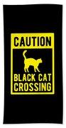 Halloween Shirt Caution Black Cat Crossing Gift Tee Beach Towel