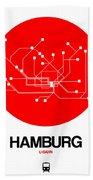 Hamburg Red Subway Map Beach Sheet