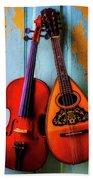 Hanging Violin And Mandolin Beach Towel
