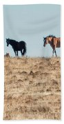 Hanging With Family And Friends - South Steens Wild Horses Beach Towel by Belinda Greb