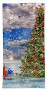 Happy Christmas Parrot Beach Towel