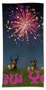 Happy New Year 2019 - Three Pronghorn Antelope Beach Towel