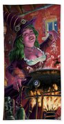 Happy Steam Punk Witch Beach Towel by Martin Davey