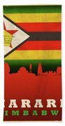 Harare Zimbabwe World City Flag Skyline Beach Sheet