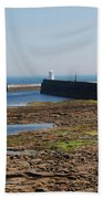 harbour at Seahouses on hazy summer day Beach Towel