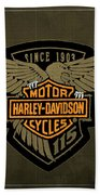 Harley Davidson Old Vintage Logo Fuel Tank Motorcycle Brown Background Beach Towel