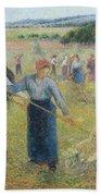 Haymaking At Eragny, 1891 Beach Towel