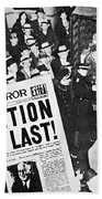 Headline Declaring The End Of Prohibition, 6th December, 1933 Beach Towel