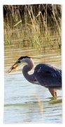 Heron Capturing A Fish Beach Towel