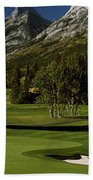 High Angle View Of A Golf Course, Mt Beach Towel
