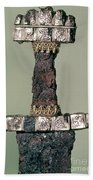 Hilt Of A Viking Sword Found At Hedeby, Denmark, 9th Century Beach Towel