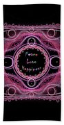 Hippie Lace - Peace, Love, Happiness Beach Sheet