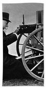 Hiram Maxim Firing His Maxim Machine Gun - 1884 Beach Towel