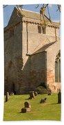 historic Crichton Church and graveyard in Scotland Beach Towel