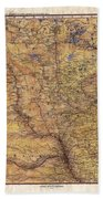 Historical Map Hand Painted Lake Superior North Dakota Minnesota Beach Towel