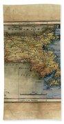 Historical Map Hand Painted Massachussets Beach Towel