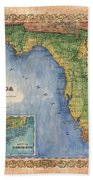 Historical Map Hand Painted Vintage Florida Colton Beach Towel