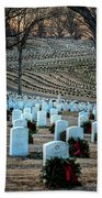 Holiday Wreaths At National Cemetery Beach Towel by Tom Singleton
