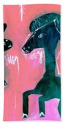Horse And Rabbit On Pink Beach Towel
