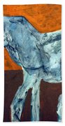 Horse On Orange Beach Towel