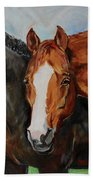 Horses In Oil Paint Beach Towel