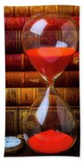 Hourglass And Old Books Beach Towel