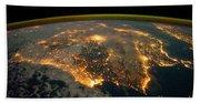 Iberian Peninsula From Space Beach Towel