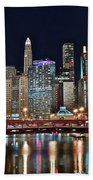 Iconic Night View Down The River Beach Towel