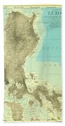 Island Of Luzon - Old Cartographic Map - Antique Maps Beach Towel