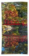 Japanese Garden Red Bridge Reflection Beach Towel