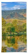 Jerome Reflected In Deadhorse Ranch Pond Beach Towel