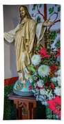 Jesus Christ With Flowers Beach Sheet
