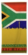 Johannesburg South Africa World City Flag Skyline Beach Towel