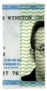 John Lennon Immigration Green Card 1976 Beach Towel