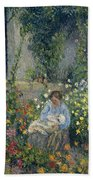 Julie And Ludovic-rodolphe Pissarro Among The Flowers, 1879 Beach Towel