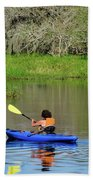 Kayaker In The Wild Beach Towel