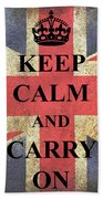 Keep Calm And Carry On Beach Sheet