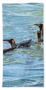King Penguins Swimming Beach Towel by Alan M Hunt