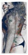 Koi No Yokan - Blue Rust - Erotic Drawing, Sexy Tattoo Girl In Thong Biting An Apple Beach Towel