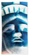 Lady Liberty In Negative Beach Towel