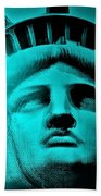 Lady Liberty In Turquoise Beach Towel